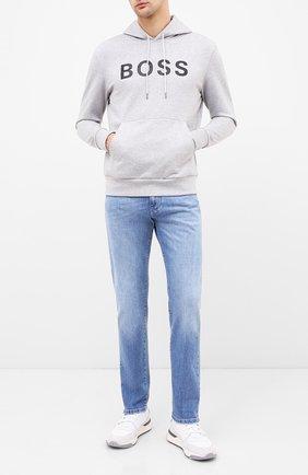 Мужской хлопковое худи BOSS серого цвета, арт. 50432386 | Фото 2