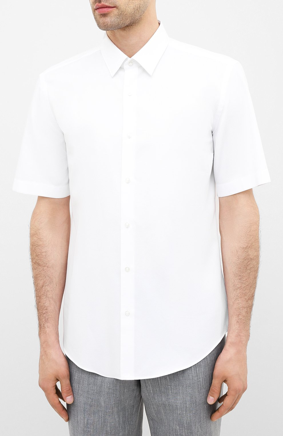 Мужская хлопковая сорочка BOSS белого цвета, арт. 50433275   Фото 3