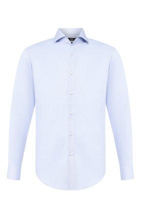 Мужская хлопковая сорочка BOSS голубого цвета, арт. 50433272 | Фото 1