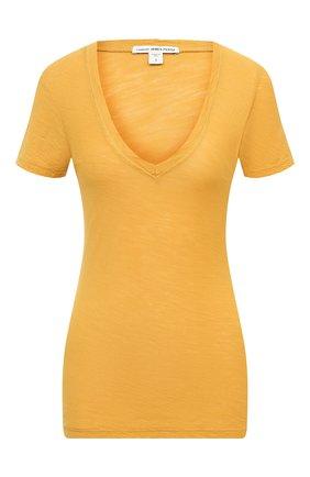 Женская хлопковая футболка JAMES PERSE желтого цвета, арт. WUA3695 | Фото 1