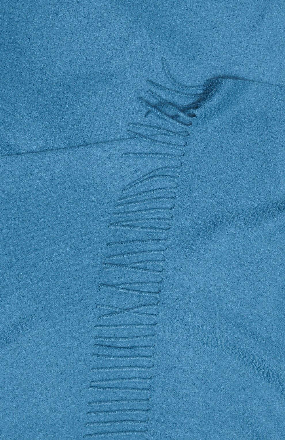 Женский кашемировый шарф grande unita LORO PIANA синего цвета, арт. FAA1056 | Фото 2 (Материал: Кашемир, Шерсть)