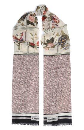 Мужские шарф oblong из шелка и шерсти BURBERRY розового цвета, арт. 8027573 | Фото 1