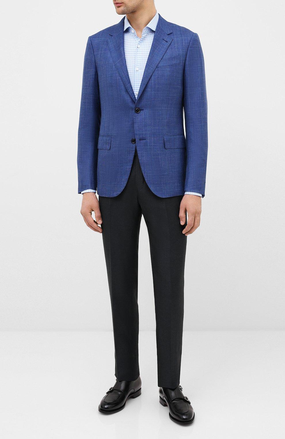 Мужская хлопковая сорочка HUGO голубого цвета, арт. 50431336   Фото 2