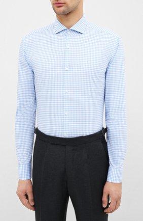 Мужская хлопковая сорочка HUGO голубого цвета, арт. 50431336   Фото 3
