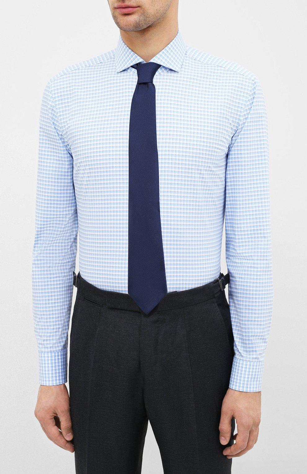 Мужская хлопковая сорочка HUGO голубого цвета, арт. 50431336   Фото 4