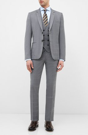 Мужской шерстяной костюм-тройка HUGO серого цвета, арт. 50432343 | Фото 1