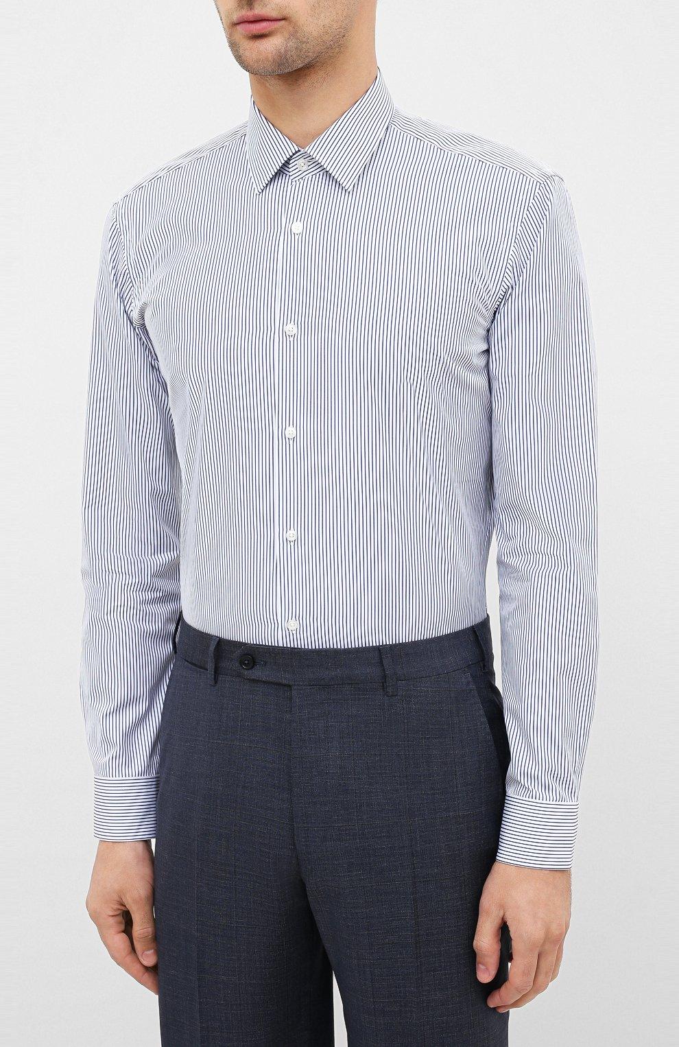 Мужская хлопковая сорочка BOSS синего цвета, арт. 50433258 | Фото 3