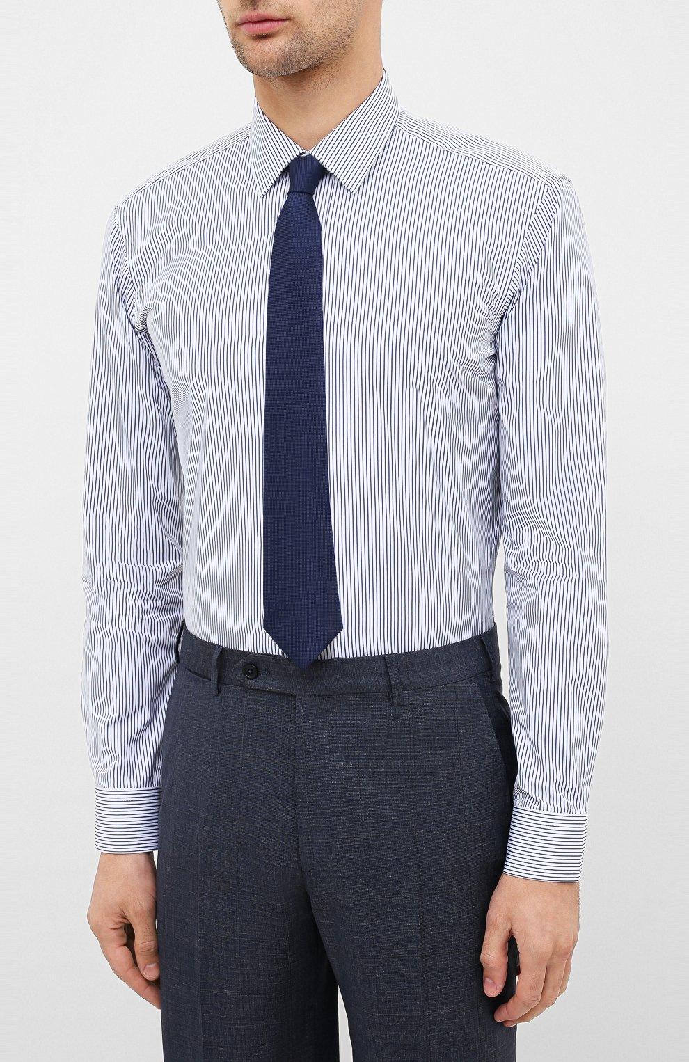 Мужская хлопковая сорочка BOSS синего цвета, арт. 50433258 | Фото 4