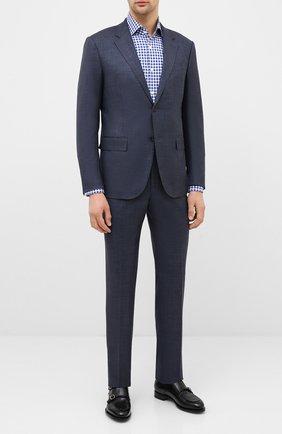 Мужская хлопковая сорочка BOSS синего цвета, арт. 50433342 | Фото 2