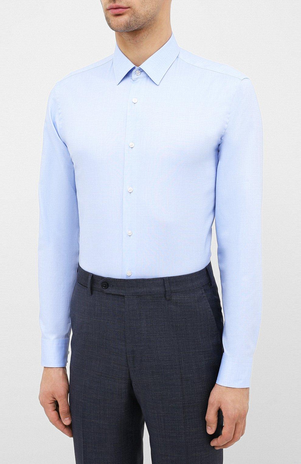 Мужская хлопковая сорочка BOSS голубого цвета, арт. 50432491 | Фото 3