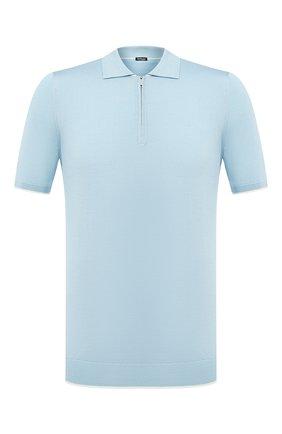 Мужское шелковое поло KITON голубого цвета, арт. UK600   Фото 1