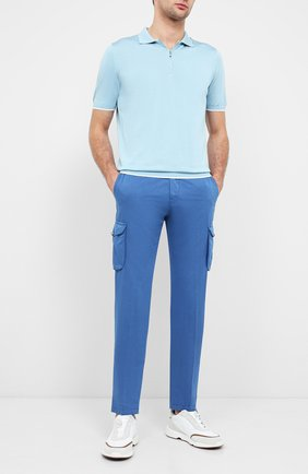 Мужское шелковое поло KITON голубого цвета, арт. UK600   Фото 2