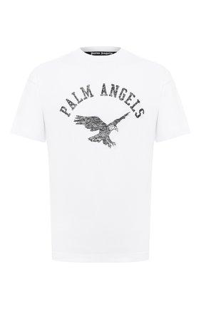 Мужская хлопковая футболка PALM ANGELS белого цвета, арт. PMAA001E20JER0120110 | Фото 1