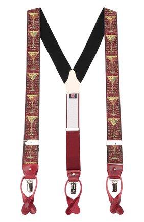 Мужские шелковые подтяжки ALBERT THURSTON бордового цвета, арт. 55R/2181 | Фото 1