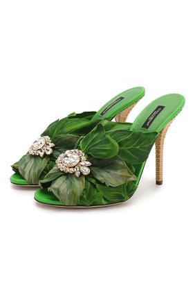 Женские кожаные мюли keira DOLCE & GABBANA зеленого цвета, арт. CR1017/AW089   Фото 1 (Материал внутренний: Натуральная кожа; Подошва: Плоская; Каблук тип: Шпилька; Каблук высота: Высокий)