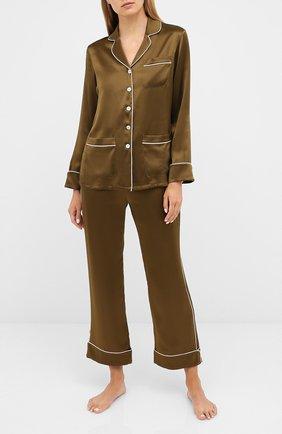 Женская шелковая пижама OLIVIA VON HALLE хаки цвета, арт. PS2019 | Фото 1
