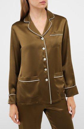 Женская шелковая пижама OLIVIA VON HALLE хаки цвета, арт. PS2019 | Фото 2