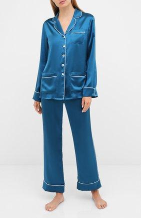 Женская шелковая пижама OLIVIA VON HALLE синего цвета, арт. PS2016 | Фото 1