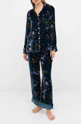 Женская пижама из вискозы и шелка OLIVIA VON HALLE синего цвета, арт. PS2004 | Фото 1