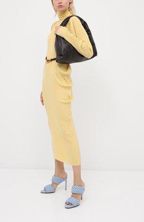 Женские кожаные мюли bv curve BOTTEGA VENETA голубого цвета, арт. 621213/VBTU0 | Фото 2