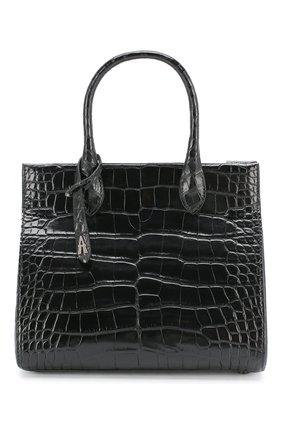 Женская сумка za 62 из кожи аллигатора ALAIA черного цвета, арт. AS1G072PZA62/AMIS | Фото 1