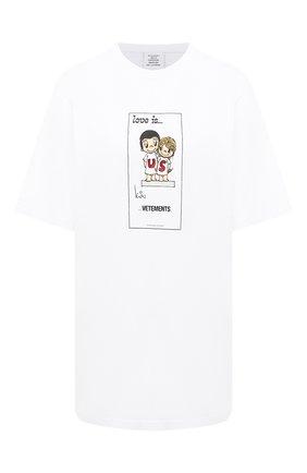 Женская хлопковая футболка VETEMENTS белого цвета, арт. UAH21TR686 1600/W | Фото 1