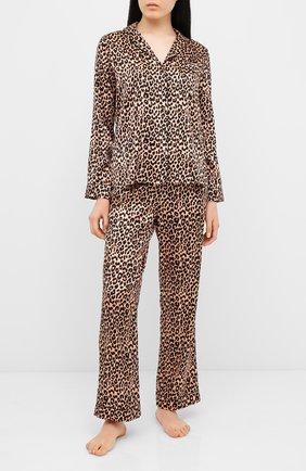 Женская шелковая пижама YOLKE леопардового цвета, арт. AW19-02S-LE-CA | Фото 1
