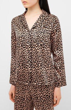 Женская шелковая пижама YOLKE леопардового цвета, арт. AW19-02S-LE-CA | Фото 2
