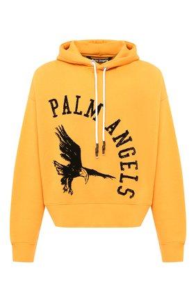 Мужской хлопковое худи PALM ANGELS желтого цвета, арт. PMBB058E20FLE0092210 | Фото 1