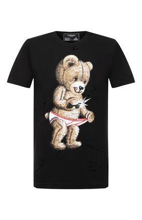 Мужская хлопковая футболка DOM REBEL черного цвета, арт. SNAP/T-SHIRT/H0LES | Фото 1