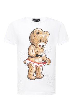Мужская хлопковая футболка DOM REBEL белого цвета, арт. SNAP/T-SHIRT/H0LES | Фото 1