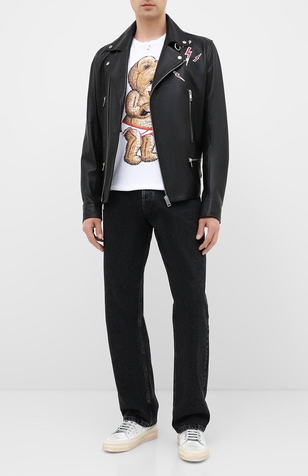 Мужская хлопковая футболка DOM REBEL белого цвета, арт. SNAP/T-SHIRT/H0LES | Фото 2