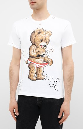 Мужская хлопковая футболка DOM REBEL белого цвета, арт. SNAP/T-SHIRT/H0LES | Фото 3