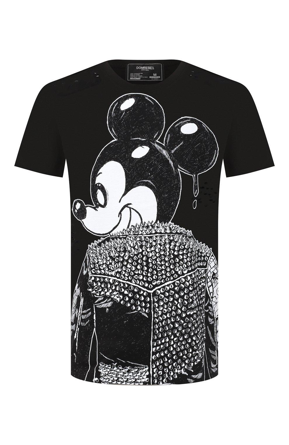 Мужская хлопковая футболка DOM REBEL черного цвета, арт. MICK/B0X T-SHIRT/H0LES | Фото 1