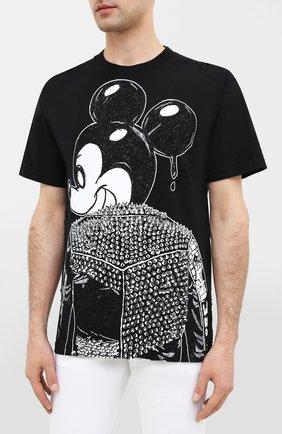 Мужская хлопковая футболка DOM REBEL черного цвета, арт. MICK/B0X T-SHIRT/H0LES | Фото 3