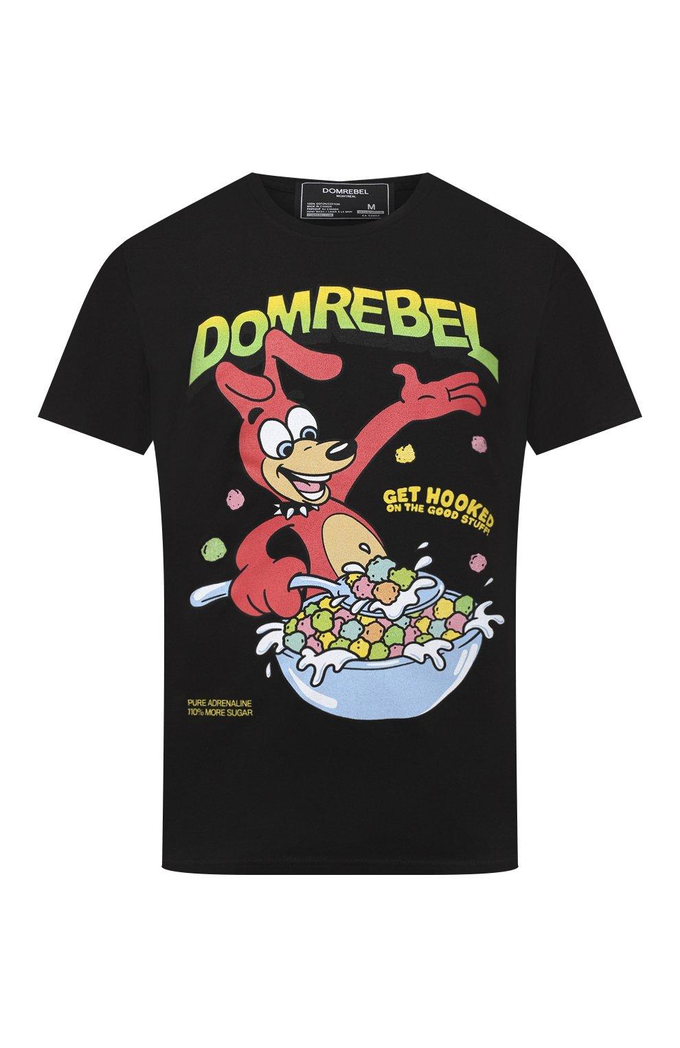 Мужская хлопковая футболка DOM REBEL черного цвета, арт. CEREAL/T-SHIRT | Фото 1