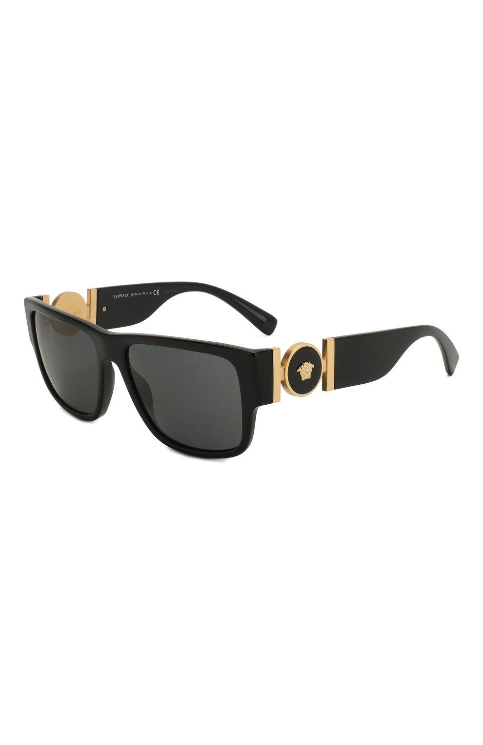Мужские солнцезащитные очки VERSACE черного цвета, арт. 4369-GB1/87 | Фото 1