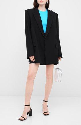 Женские кожаные босоножки moon BALENCIAGA черного цвета, арт. 615766/WA760 | Фото 2