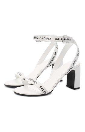 Женские кожаные босоножки round BALENCIAGA белого цвета, арт. 564433/WBAE1 | Фото 1