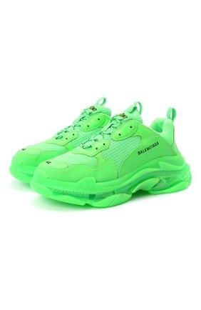 Мужские комбинированные кроссовки triple s clear sole BALENCIAGA зеленого цвета, арт. 541624/W2CF1 | Фото 1