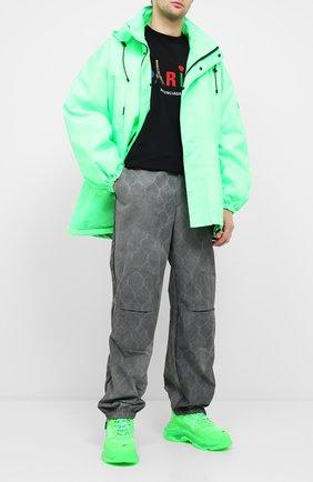 Мужские комбинированные кроссовки triple s clear sole BALENCIAGA зеленого цвета, арт. 541624/W2CF1 | Фото 2