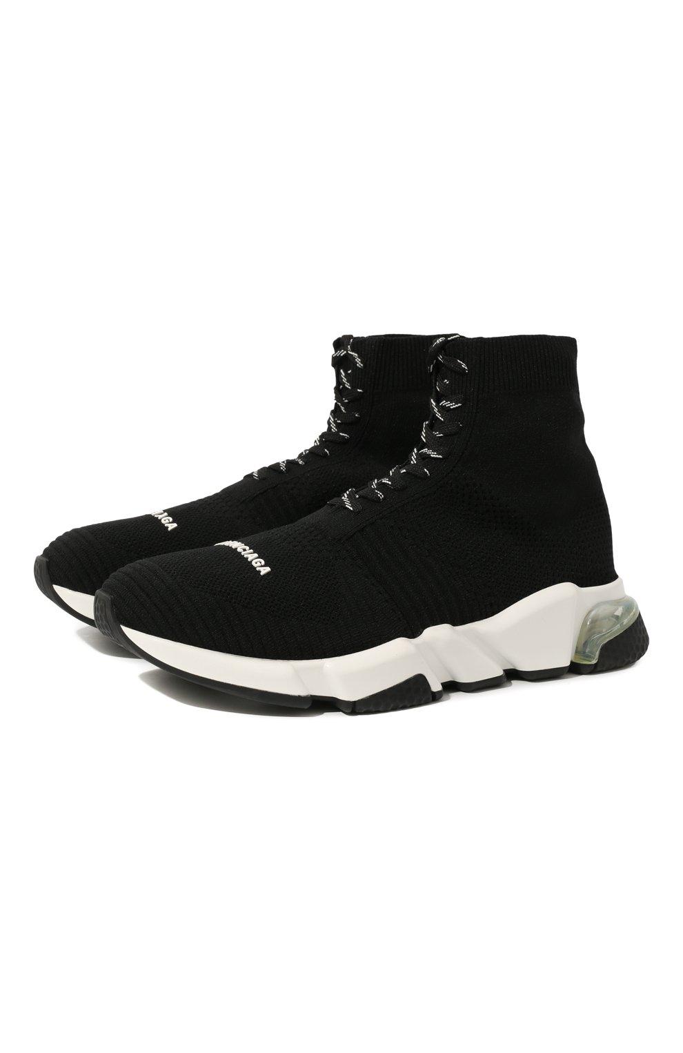Мужские текстильные кроссовки speed clear sole BALENCIAGA черного цвета, арт. 617255/W05GG | Фото 1