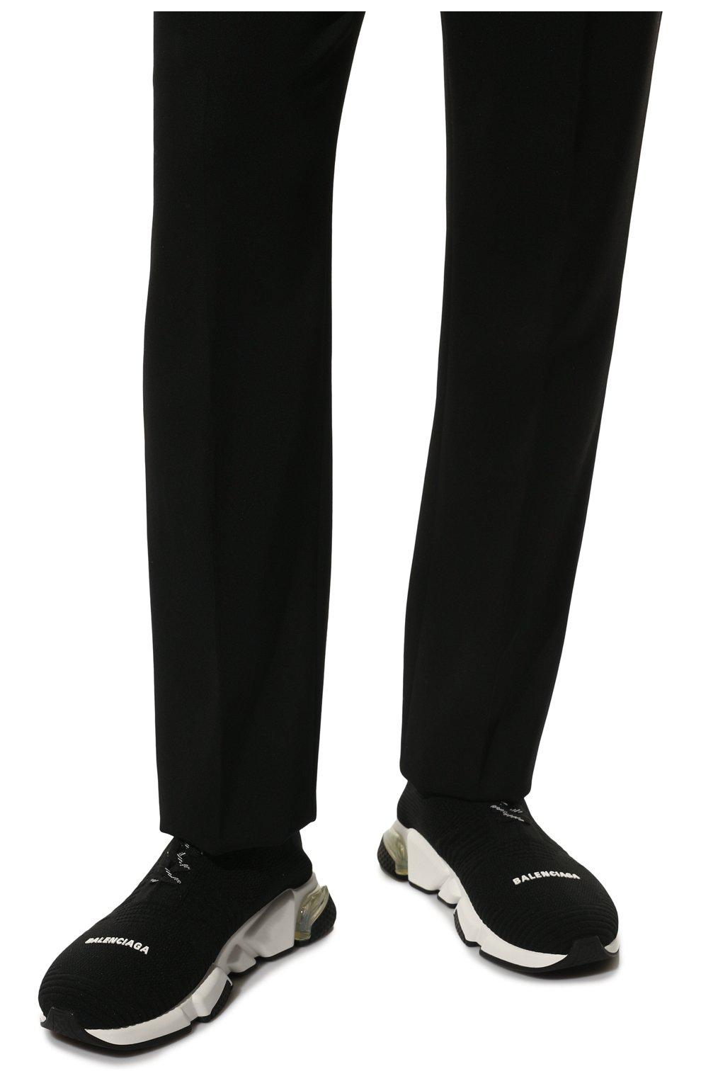 Мужские текстильные кроссовки speed clear sole BALENCIAGA черного цвета, арт. 617255/W05GG | Фото 3