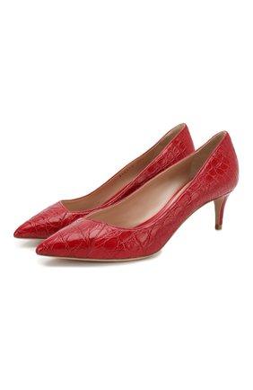 Женская кожаные туфли GIORGIO ARMANI красного цвета, арт. X1E718/XF085/CCR0 | Фото 1