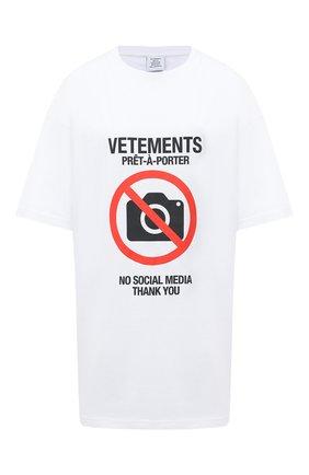 Женская хлопковая футболка VETEMENTS белого цвета, арт. UAH21TR546 1600/W   Фото 1
