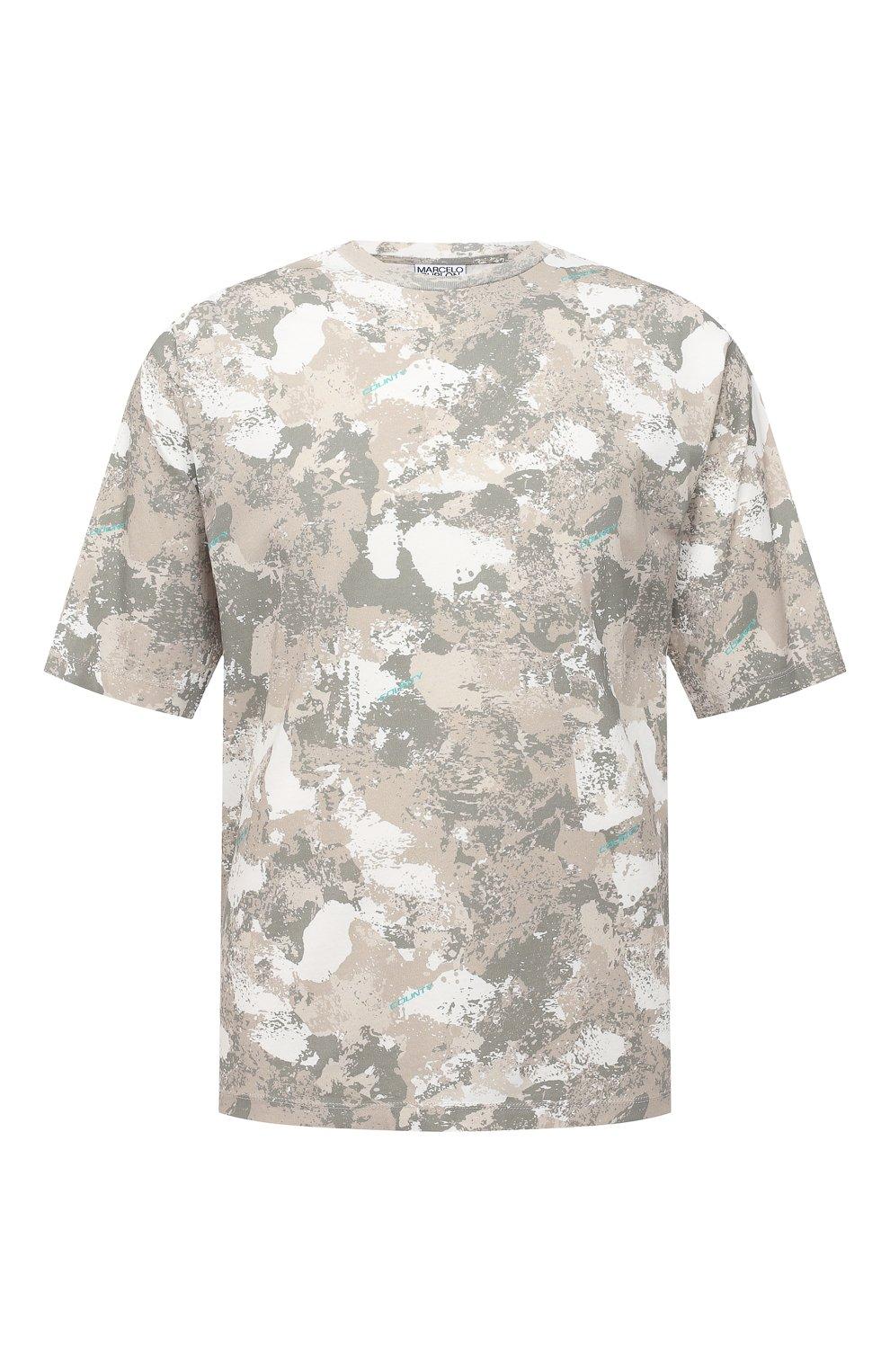 Мужская хлопковая футболка MARCELO BURLON бежевого цвета, арт. CMAA054E20JER007   Фото 1 (Рукава: Короткие; Длина (для топов): Стандартные; Мужское Кросс-КТ: Футболка-одежда; Материал внешний: Хлопок; Стили: Кэжуэл)