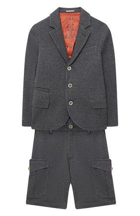 Детский костюм из пиджака и шорт BRUNELLO CUCINELLI серого цвета, арт. BD847A103C | Фото 1