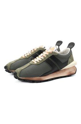 Мужские текстильные кроссовки LANVIN темно-зеленого цвета, арт. FM-SKBRUN-MATR-A20 | Фото 1