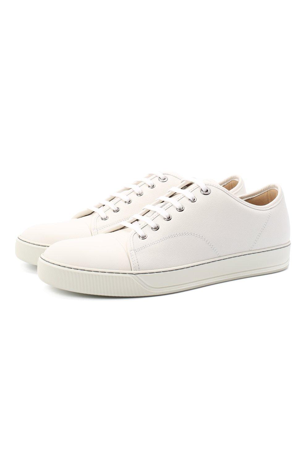 Мужские кожаные кеды LANVIN белого цвета, арт. FM-SKDBB1-LY0N-A20   Фото 1 (Материал внутренний: Натуральная кожа; Подошва: Массивная)