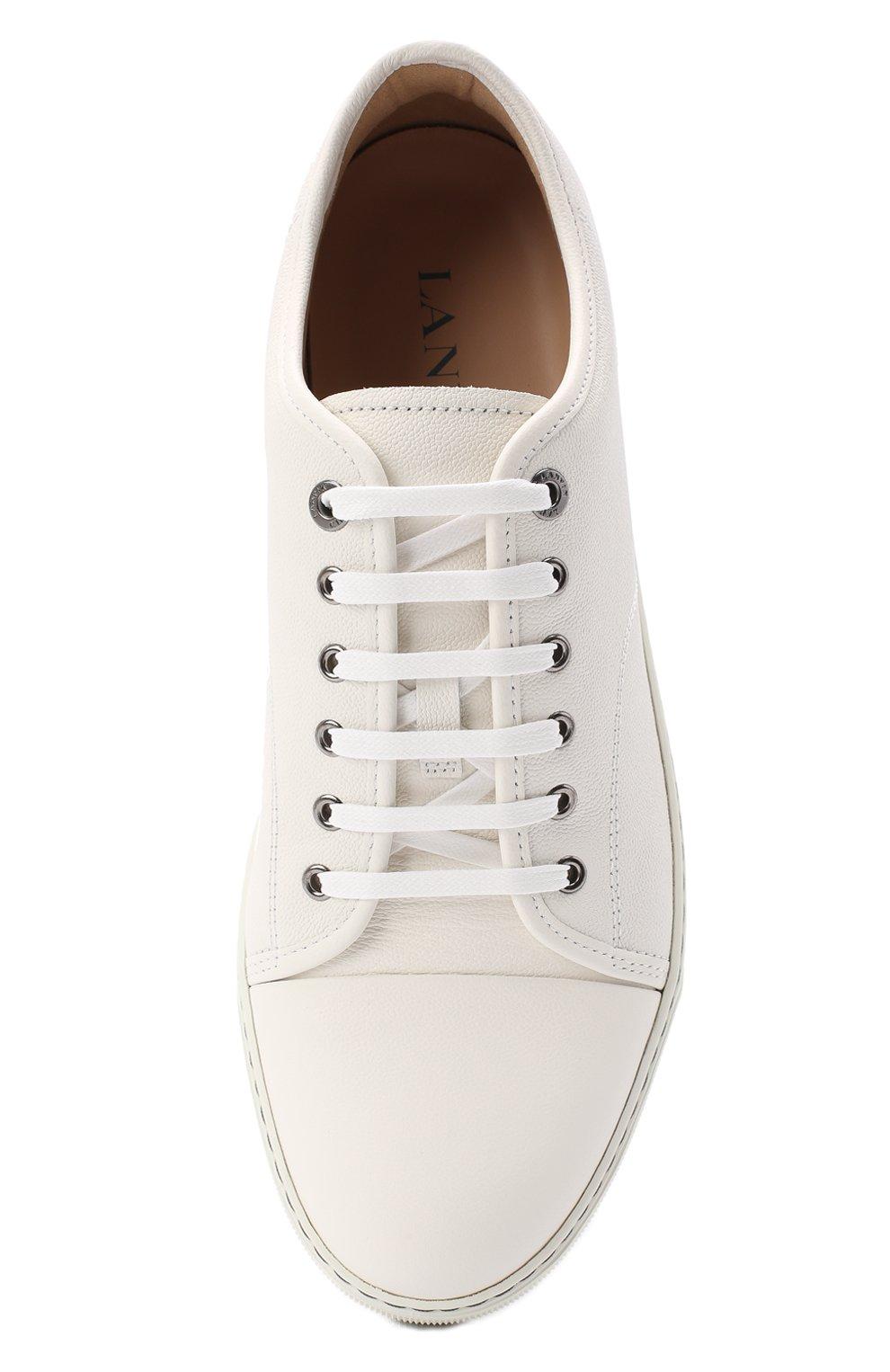 Мужские кожаные кеды LANVIN белого цвета, арт. FM-SKDBB1-LY0N-A20   Фото 5 (Материал внутренний: Натуральная кожа; Подошва: Массивная)